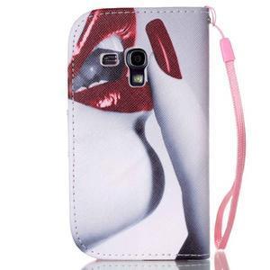 Knížkové PU kožené puzdro pre Samsung Galaxy S3 mini - sexy pery - 2