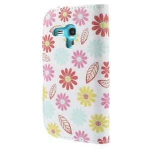 Knížkové puzdro pre mobil Samsung Galaxy S3 mini - kvety - 2