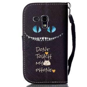 Knížkové PU kožené pouzdro na Samsung Galaxy S3 mini - nedotýkat se - 2