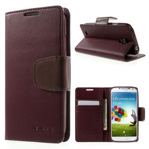 Diary PU kožené pouzdro na mobil Samsung Galaxy S4 - vínové - 2
