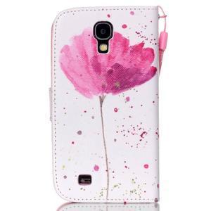Knížkové koženkové puzdro pre Samsung Galaxy S4 - flower - 2