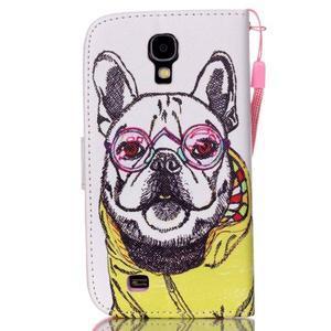 Knížkové koženkové puzdro pre Samsung Galaxy S4 - buldog - 2