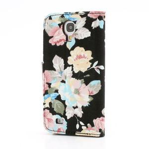 Květinové pouzdro na mobil Samsung Galaxy S4 - černé pozadí - 2