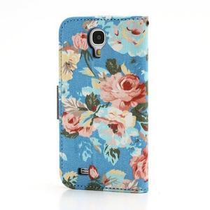 Květinové pouzdro na mobil Samsung Galaxy S4 - modré pozadí - 2