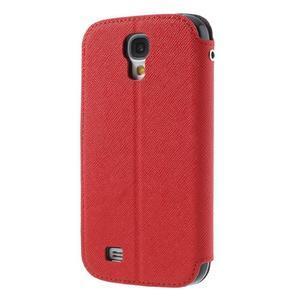 Okýnkové peňaženkové puzdro pre mobil Samsung Galaxy S4 - červené - 2
