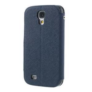 Okýnkové peňaženkové puzdro pre mobil Samsung Galaxy S4 - tmavomodré - 2