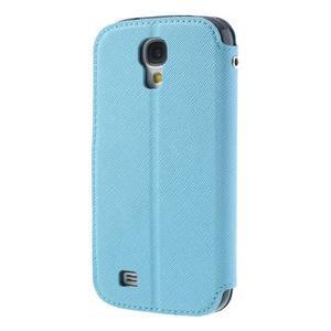 Okýnkové peňaženkové puzdro pre mobil Samsung Galaxy S4 - svetlomodré - 2