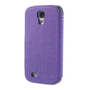 Okýnkové peňaženkové puzdro pre mobil Samsung Galaxy S4 - fialové - 2