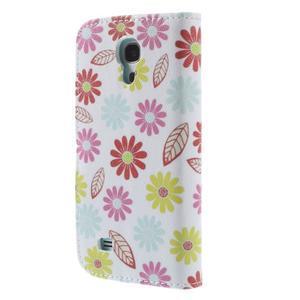 Style peňaženkové puzdro pre Samsung Galaxy S4 mini - kvetinky - 2