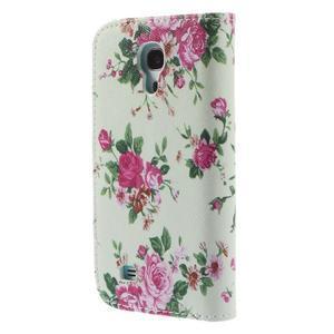 Style peňaženkové puzdro pre Samsung Galaxy S4 mini - kvietky - 2