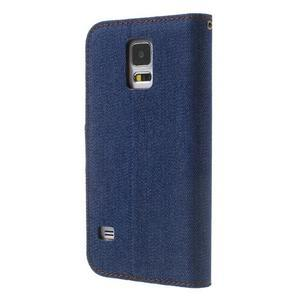Jeans peněženkové pouzdro na mobil Samsung Galaxy S5 - tmavěmodré - 2