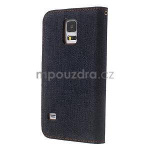 Jeans peňaženkové puzdro pre mobil Samsung Galaxy S5 - čiernomodré - 2