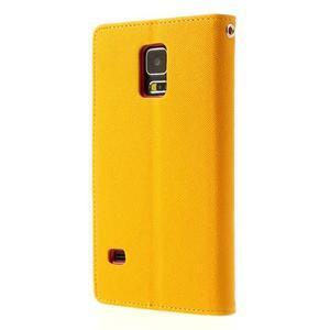 Diary peňaženkové puzdro pre Samsung Galaxy S5 - žlté - 2