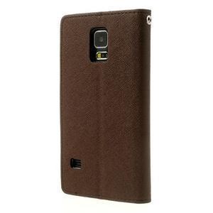 Diary peňaženkové puzdro pre Samsung Galaxy S5 - hnedé - 2