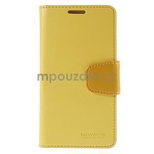 Elegantní peňaženkové puzdro pre Samsung Galaxy S5 - žlté - 2