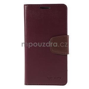 Elegantní peňaženkové puzdro pre Samsung Galaxy S5 - vínové - 2