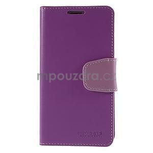 Elegantní peňaženkové puzdro pre Samsung Galaxy S5 - fialové - 2