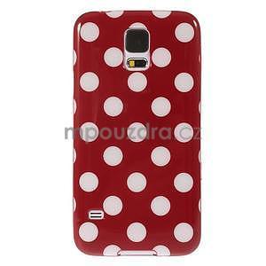 Puntíkovaný gélový kryt pre Samsung Galaxy S5 - červený - 2