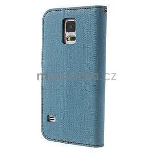 Jeans peněženkové pouzdro na mobil Samsung Galaxy S5 - světlemodré - 2
