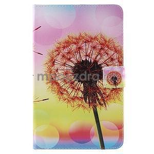 Ochranné koženkové puzdro na Samsung Galaxy Tab E 9.6 - oranžové púpavy - 2