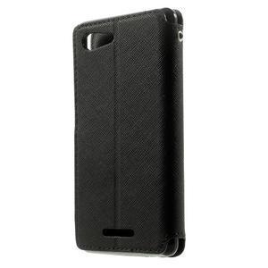Peňaženkové puzdro s okienkom na Sony Xperia E3 - čierne - 2