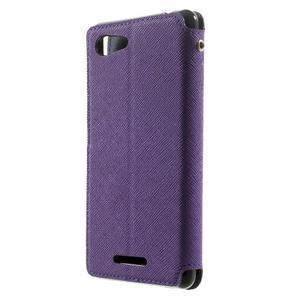 Peňaženkové puzdro s okienkom na Sony Xperia E3 - fialové - 2