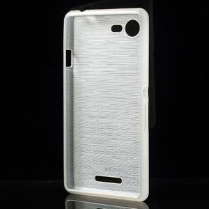 Brushed gélový obal pre mobil Sony Xperia E3 - biely - 2
