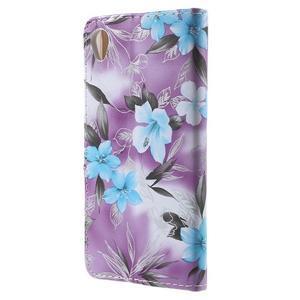 Květinkové pouzdro na mobil Sony Xperia M4 Aqua - fialové - 2
