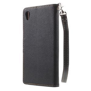 Leaf PU kožené pouzdro na mobil Sony Xperia M4 Aqua - černé - 2