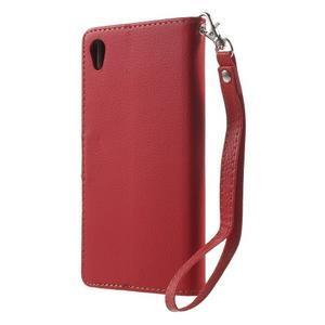 Leaf PU kožené pouzdro na mobil Sony Xperia M4 Aqua - červené - 2