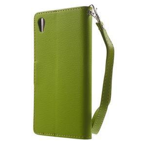 Leaf PU kožené puzdro pre mobil Sony Xperia M4 Aqua - zelené - 2