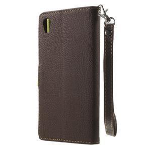 Leaf PU kožené puzdro pre mobil Sony Xperia M4 Aqua - hnedé - 2