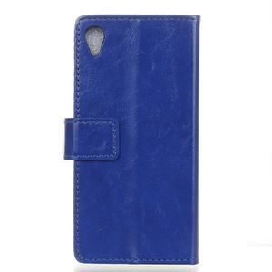 Horse PU kožené puzdro pre Sony Xperia X - modré - 2