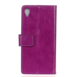 Horse PU kožené pouzdro na Sony Xperia X - fialové - 2