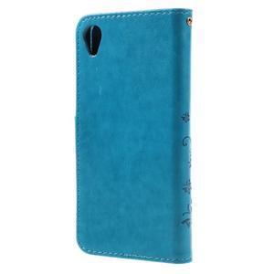 Butterfly PU kožené puzdro pre Sony Xperia X - modré - 2