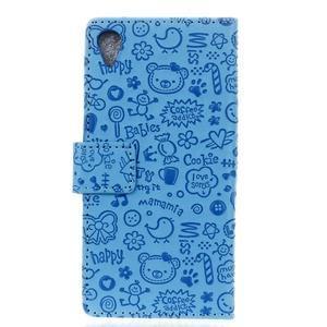 Cartoo Peňaženkové puzdro pre Sony Xperia X - modré - 2