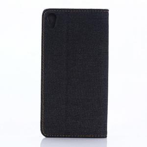 Jeans Peňaženkové puzdro pre mobil Sony Xperia XA - černomodré - 2