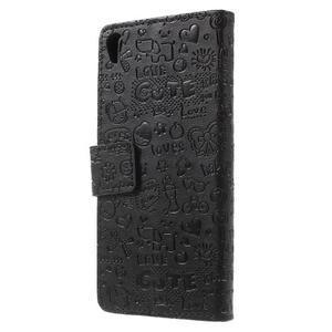 Cartoo peněženkové pouzdro na mobil Sony Xperia XA - černé - 2