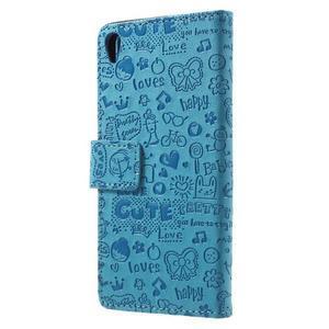 Cartoo peněženkové pouzdro na mobil Sony Xperia XA - modré - 2