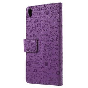 Cartoo Peňaženkové puzdro pre mobil Sony Xperia XA - fialové - 2