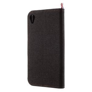 Denim textilné/koženkové puzdro pre Sony Xperia XA - čierne - 2