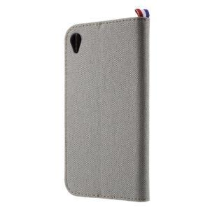 Denim textilní/koženkové pouzdro na Sony Xperia XA - šedé - 2