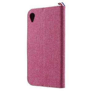 Denim textilné/koženkové puzdro pre Sony Xperia XA - rose - 2