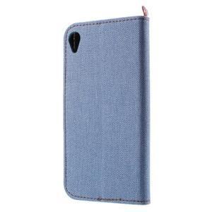 Denim textilní/koženkové pouzdro na Sony Xperia XA - světlemodré - 2