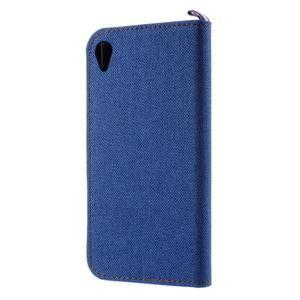 Denim textilní/koženkové pouzdro na Sony Xperia XA - modré - 2