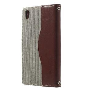 Jeansy PU kožené/textilné puzdro pre Sony Xperia XA - sivé - 2