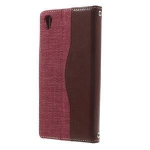 Jeansy PU kožené/textilné puzdro pre Sony Xperia XA - rose - 2