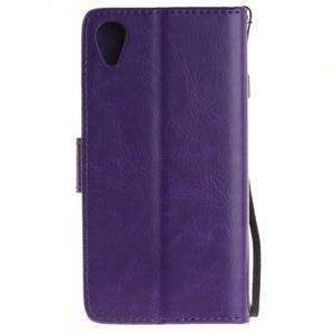 Dandely PU kožené puzdro pre mobil Sony Xperia XA - fialové - 2