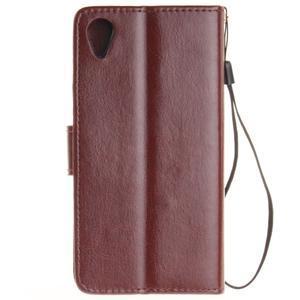 Dandely PU kožené puzdro pre mobil Sony Xperia XA - hnedé - 2