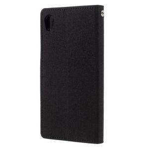 Canvas PU kožené/textilné puzdro pre mobil Sony Xperia XA - čierne - 2